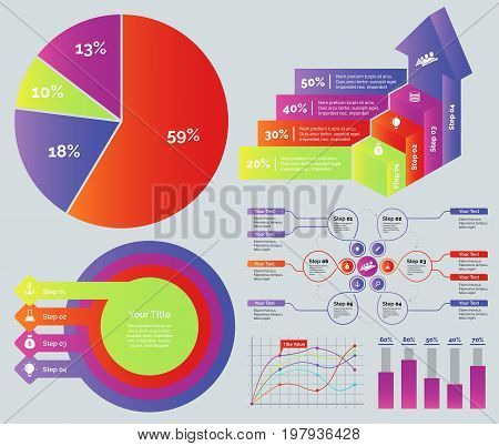 Marketing diagram set. Can be used for workflow layout, annual report, web design. Business concept. Percentage pie chart Process bar graph Concentric circles chart Flowchart Line graph Bar graph