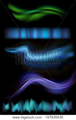 Vector illustration of northern aurora lights strips. Set of rare natural lighting phenomenon aurora borealis on black background