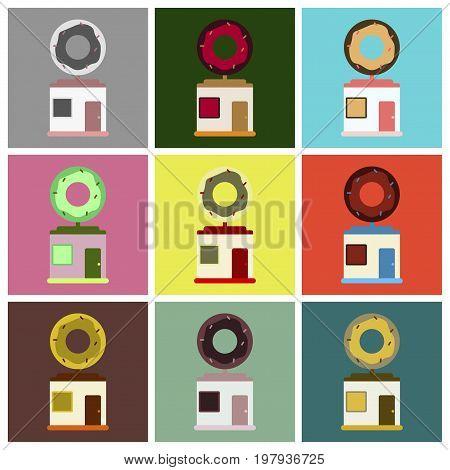 Vector illustration of flat icons set Donut shop