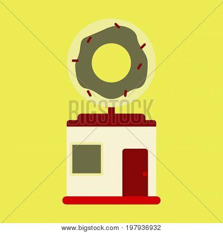 Vector illustration of flat icon Donut shop