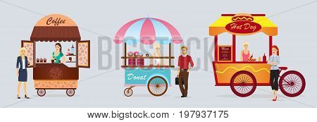 Creative detailed vector street coffee cart, donat and hotdog shop with sellers. Young people buy street food or junk food in food festival event. Illustration in flat cartoon style