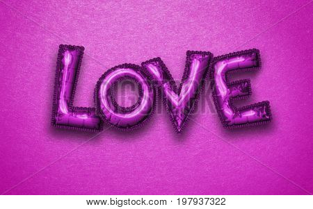 Four metallic purple letter balloons spelling the word love isolated on a bright pink background with copy space. 3d Rendering.