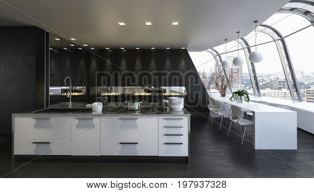 Kitchen island integrated with dining room in modern clean bright apartment. 3d Rendering.