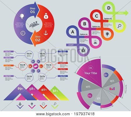 Process and comparison diagrams set. Can be used for web design, workflow layout, annual report. Business concept. Cycle donut graph Options graph Flowchart Comparison percentage chart Pie chart