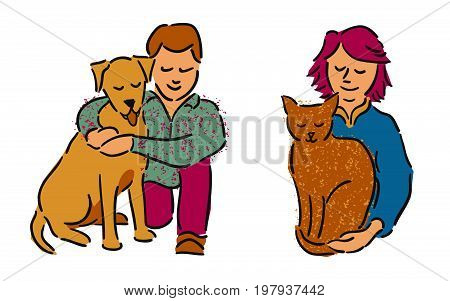 Man and woman embracing pet dog and cat