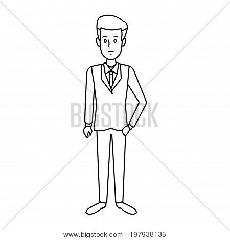 business successful man dressed in a suit standing vector illustration