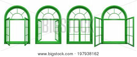 Collection of green arched windows isolated on white