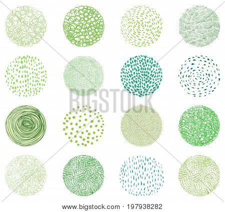 Green natural textures in round shapes. Doodle circles for package design fo natural products