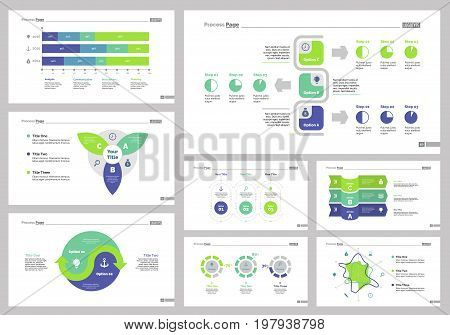 Infographic design set can be used for workflow layout, diagram, annual report, presentation, web design. Business and research concept with process, doughnut, area and percentage charts.
