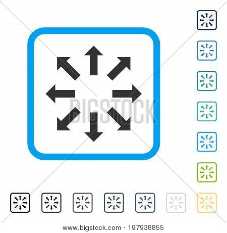 Explode Arrows icon inside rounded square frame. Vector illustration style is a flat iconic symbol in some color versions.