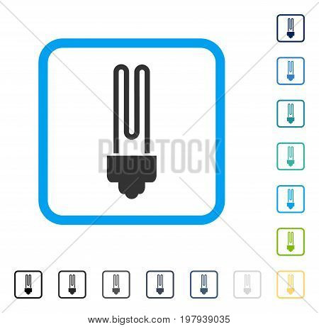 Fluorescent Bulb icon inside rounded rectangle frame. Vector illustration style is a flat iconic symbol in some color versions.