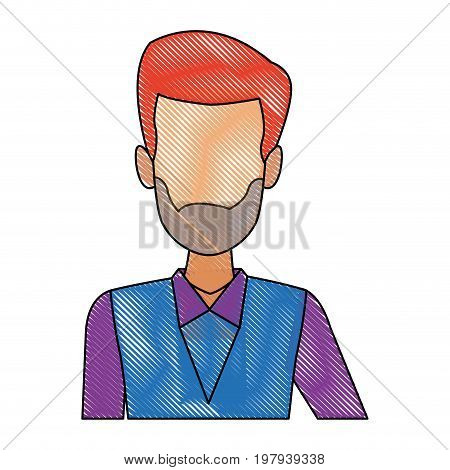 man waiter employee face person character work vector illustration