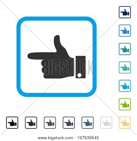 Hand Pointer Left icon inside rounded square frame. Vector illustration style is a flat iconic symbol in some color versions.