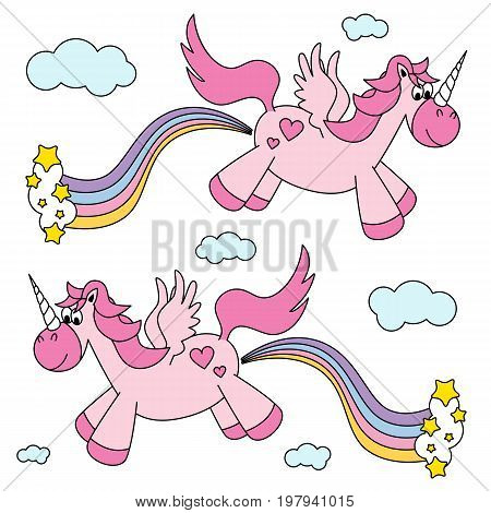 Cute funny pink unicorns farting rainbow and flying vector