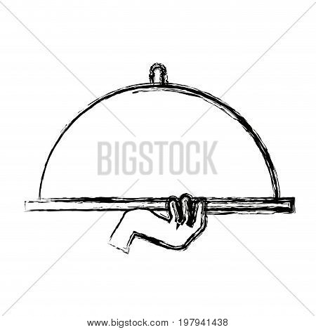 waiter hand holding cloche serving plate for food vector illustration