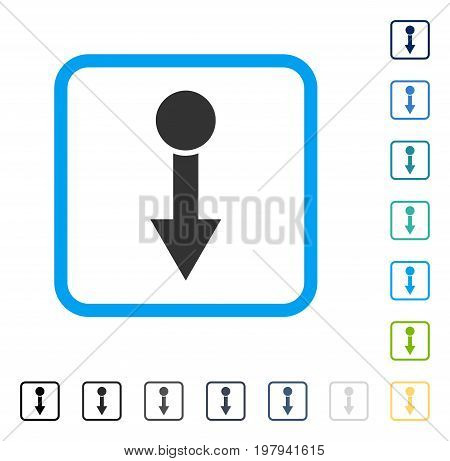 Pull Down icon inside rounded rectangle frame. Vector illustration style is a flat iconic symbol in some color versions.