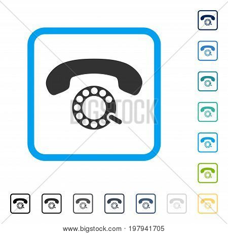 Pulse Dialing icon inside rounded rectangle frame. Vector illustration style is a flat iconic symbol in some color versions.