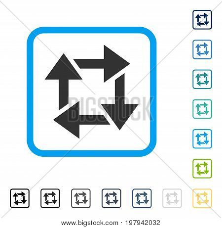 Recycle icon inside rounded rectangle frame. Vector illustration style is a flat iconic symbol in some color versions.