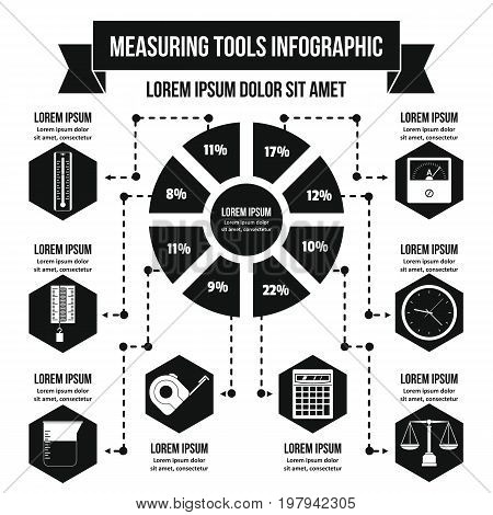 Measuring tools infographic banner concept. Simple illustration of measuring tools infographic vector poster concept for web