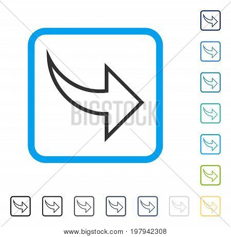Redo icon inside rounded rectangle frame. Vector illustration style is a flat iconic symbol in some color versions.
