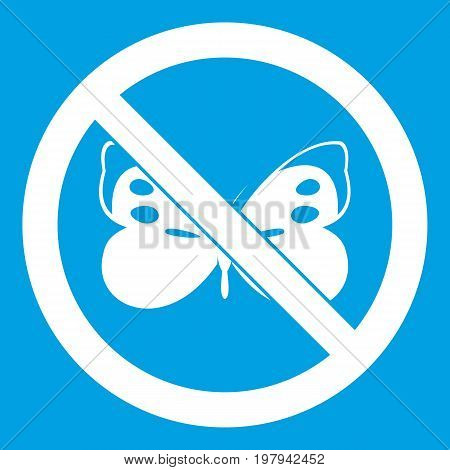 No butterfly sign icon white isolated on blue background vector illustration