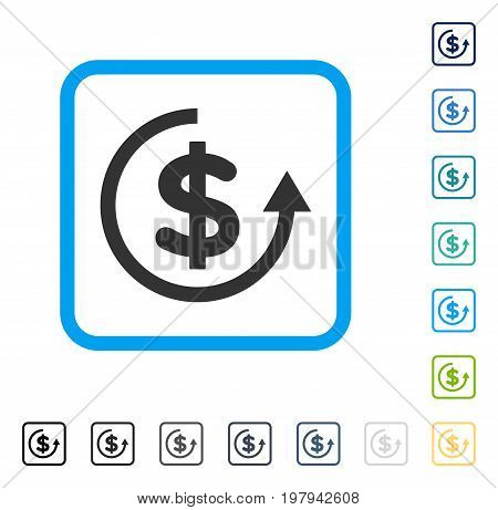 Refund icon inside rounded square frame. Vector illustration style is a flat iconic symbol in some color versions.