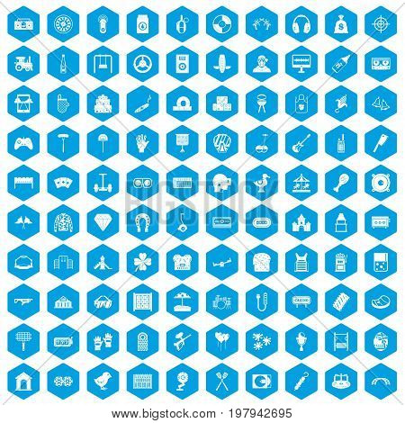 100 entertainment icons set in blue hexagon isolated vector illustration