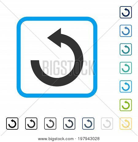 Rotate Left icon inside rounded rectangle frame. Vector illustration style is a flat iconic symbol in some color versions.