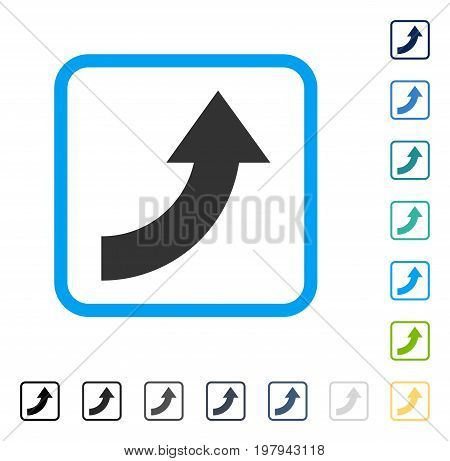 Rotate Up icon inside rounded rectangle frame. Vector illustration style is a flat iconic symbol in some color versions.