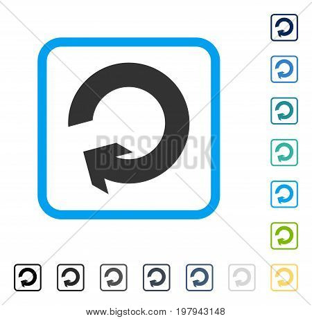 Rotate icon inside rounded square frame. Vector illustration style is a flat iconic symbol in some color versions.