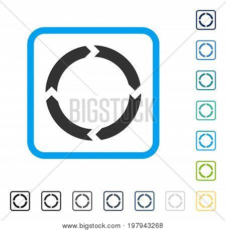 Rotation icon inside rounded square frame. Vector illustration style is a flat iconic symbol in some color versions.
