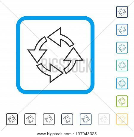 Rotation icon inside rounded rectangle frame. Vector illustration style is a flat iconic symbol in some color versions.