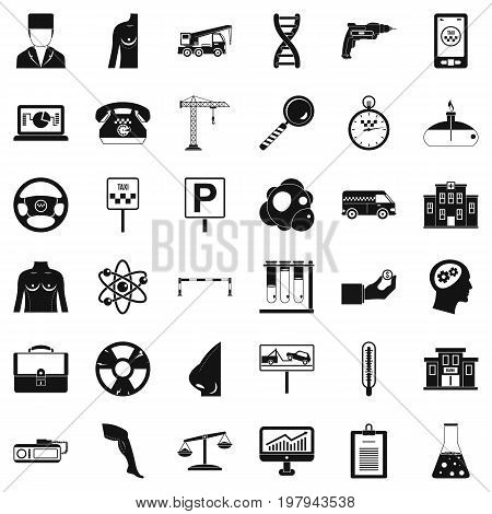 Business equipment icons set. Simple style of 36 business equipment vector icons for web isolated on white background