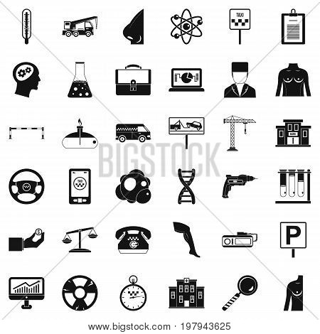 Business computer icons set. Simple style of 36 business computer vector icons for web isolated on white background