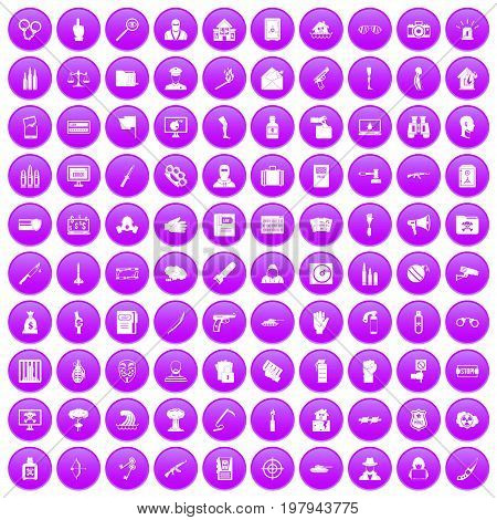 100 violation icons set in purple circle isolated vector illustration