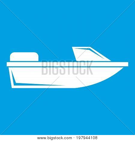 Sports powerboat icon white isolated on blue background vector illustration