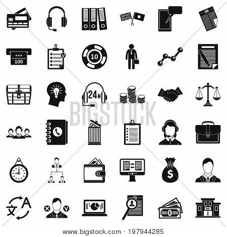Business and finance icons set. Simple style of 36 business and finance vector icons for web isolated on white background