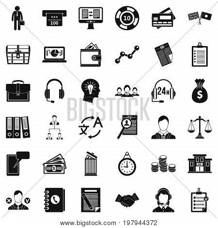 All day business icons set. Simple style of 36 all day business vector icons for web isolated on white background