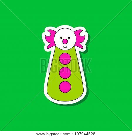 paper sticker on stylish background of clown toy