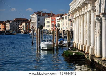 Scene in Venice Italy, with channel and buildings