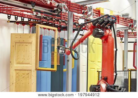 Automated Robotic arm spray painting window frame