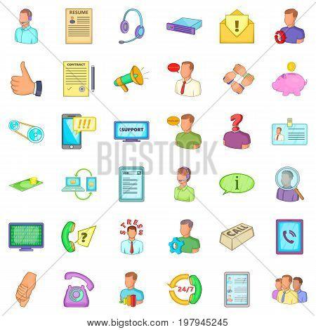 Business operator icons set. Cartoon style of 36 business operator vector icons for web isolated on white background