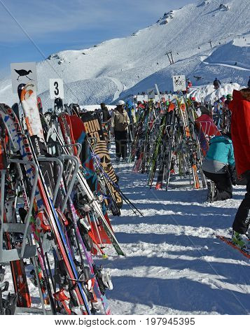 Mount Hutt New Zealand - July 30 2017: Where Have I Left My Skis at Mount Hutt Ski Field NZ.