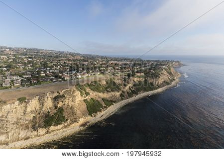 Coastal aerial view of Rancho Palos Verdes in Los Angeles County, California.