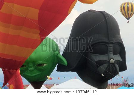 Yoda and Darth Vader Hot Air Balloons: Albuquerque, New Mexico Balloon Fiesta October 4, 2015