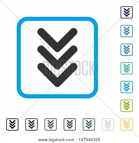 Triple Arrowhead Down icon inside rounded square frame. Vector illustration style is a flat iconic symbol in some color versions.
