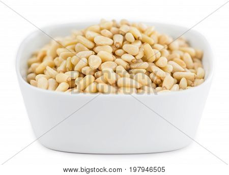 Portion Of Pine Nuts Isolated On White