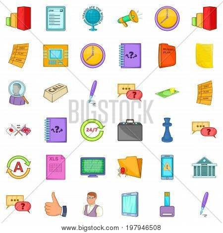 Time for business icons set. Cartoon style of 36 time for business vector icons for web isolated on white background