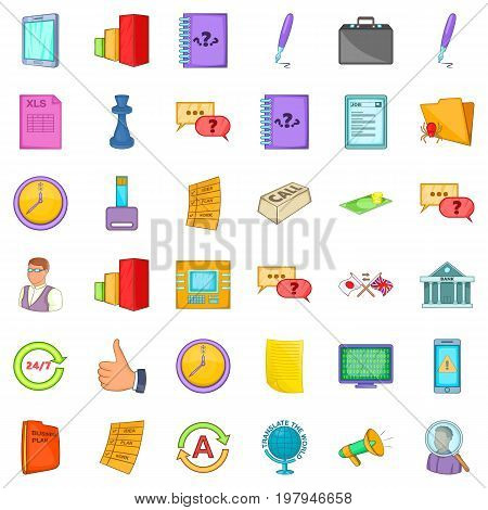 Business planning icons set. Cartoon style of 36 Business planning vector icons for web isolated on white background