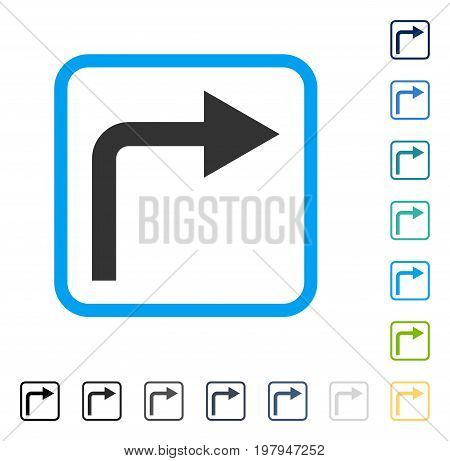 Turn Right icon inside rounded rectangle frame. Vector illustration style is a flat iconic symbol in some color versions.